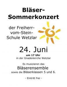 Bläser-Sommerkonzert am 24. Juni um 17 Uhr